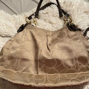 Large Fabric Signature C Coach Shoulder Bag